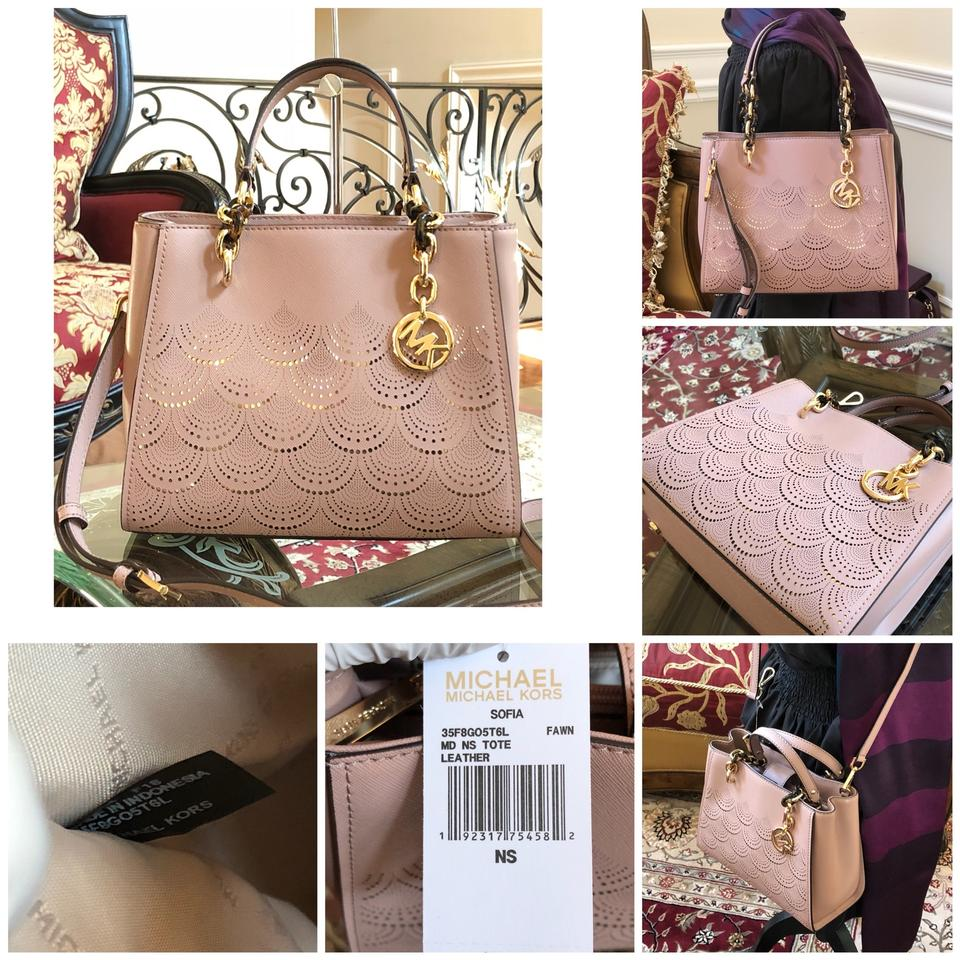 Michael Kors 2pcs Sofia Md Ns Chain Perforated Handbag+wallet Set Fawn  Patent Leather Tote 684b9fc6d79f0