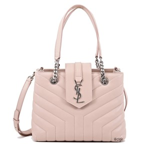Saint Laurent Monogram Leather Tote in Marble Pink