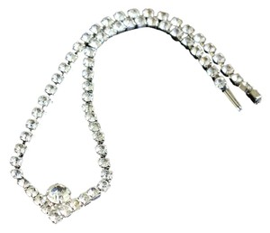 silver color and crystals necklace
