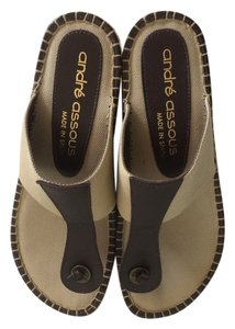 Andre Assous Khaki/Dark Brown Sandals