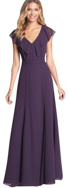Item - Plum Cecillia Chiffon Ruffled Long Formal Dress Size 4 (S)