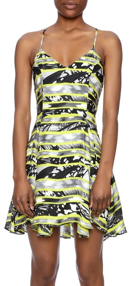975aa57f8772 Parker Black Print Quintin Fit and Flare Short Night Out Dress Size ...