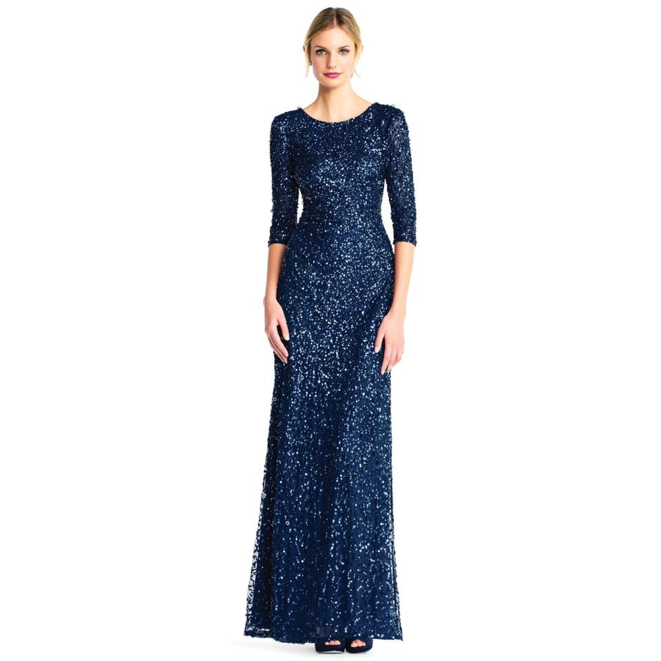 014f4f6d060 Adrianna Papell Navy 3 4 Sleeve Beaded Gown Long Formal Dress Size 4 ...