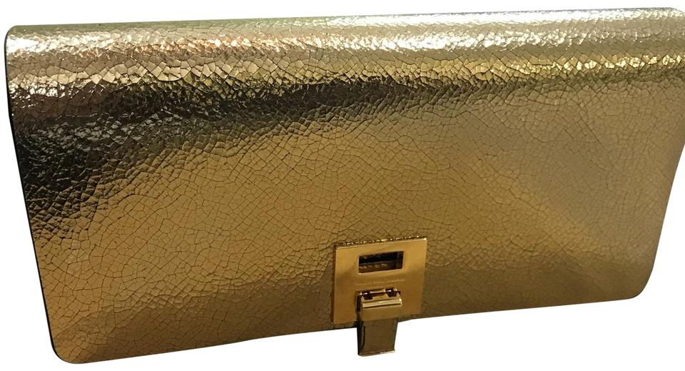 3f3038a15d68 Michael Kors Collection Black and Gold Bancroft Crackled Metallic Leather  Wallet