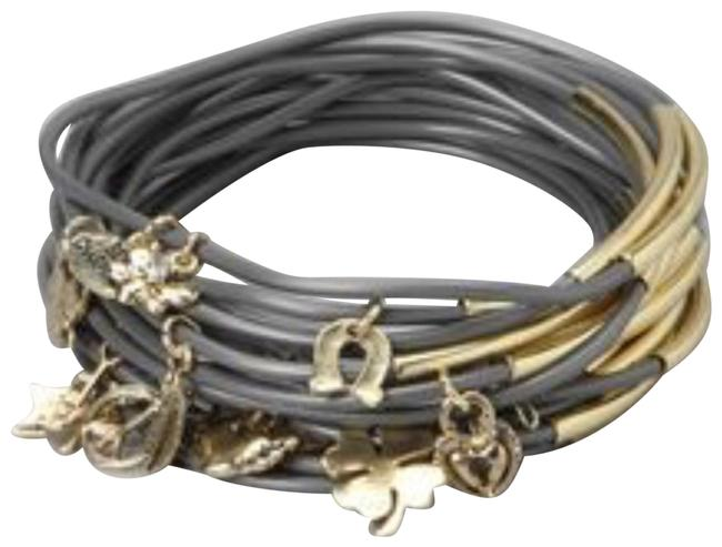 Unbranded Gold Grey Rubber & Hanging Charm Bracelet Unbranded Gold Grey Rubber & Hanging Charm Bracelet Image 1