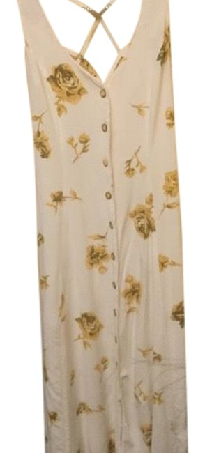 Item - Winter White and Yellow Adorable Vintage Flower Button Long Casual Maxi Dress Size 8 (M)