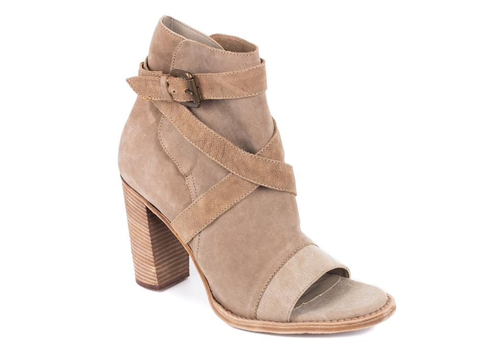 Brunello Cucinelli Light Toe Brown Leather Peep Toe Light Ankle Boots/Booties f00872