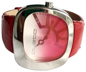 Custo Barcelona RED LEATHER STRAP RETRO RUNWAY WATCH