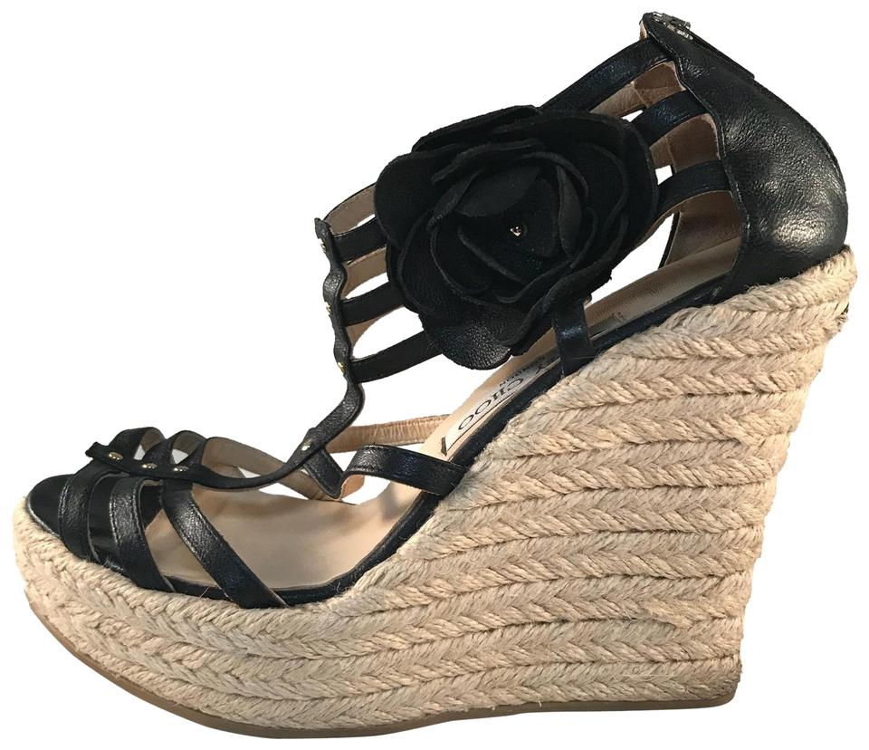 b66ab17c254384 Jimmy Choo Black Tan Rope and Leather Wedges Size EU 39 (Approx. US ...