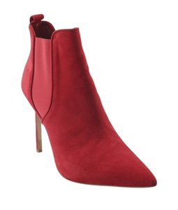 Manolo Blahnik Ankle Suede Red Boots
