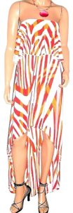 red/pink/orange Maxi Dress by Go Couture Strapless
