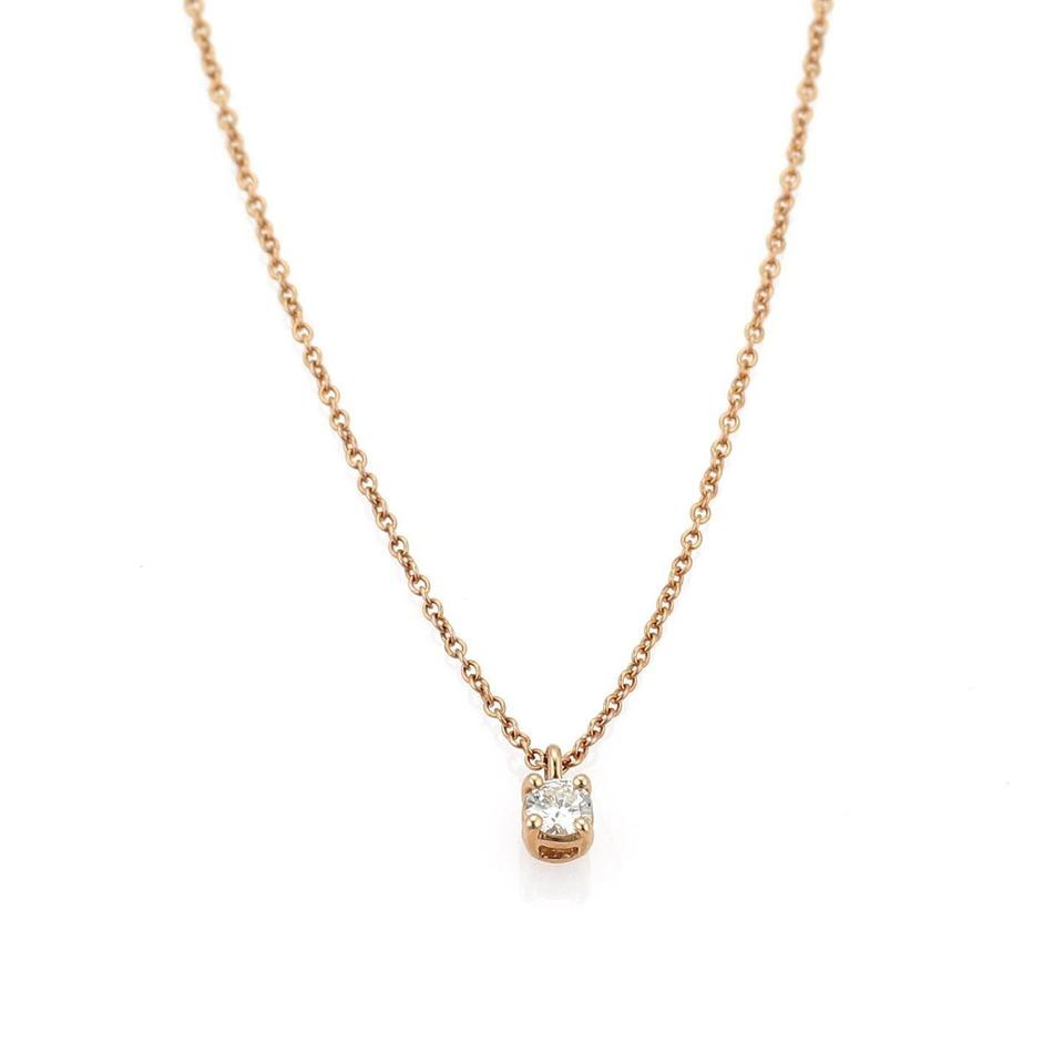 3b985e846ace Tiffany   Co. Diamond Solitaire 18k Rose Gold Pendant   Chain Image 0 ...