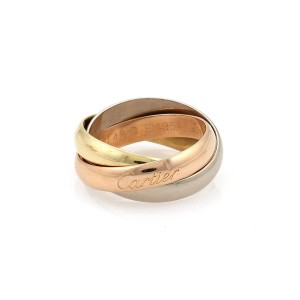 Cartier TRINITY 18k Tricolor Gold 3.5mm Rolling Band Ring Size 48-US 4 Cert