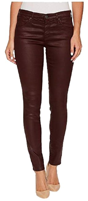 Item - Deep Red Coated The Ankle Legging Leatherette Skinny Jeans Size 31 (6, M)