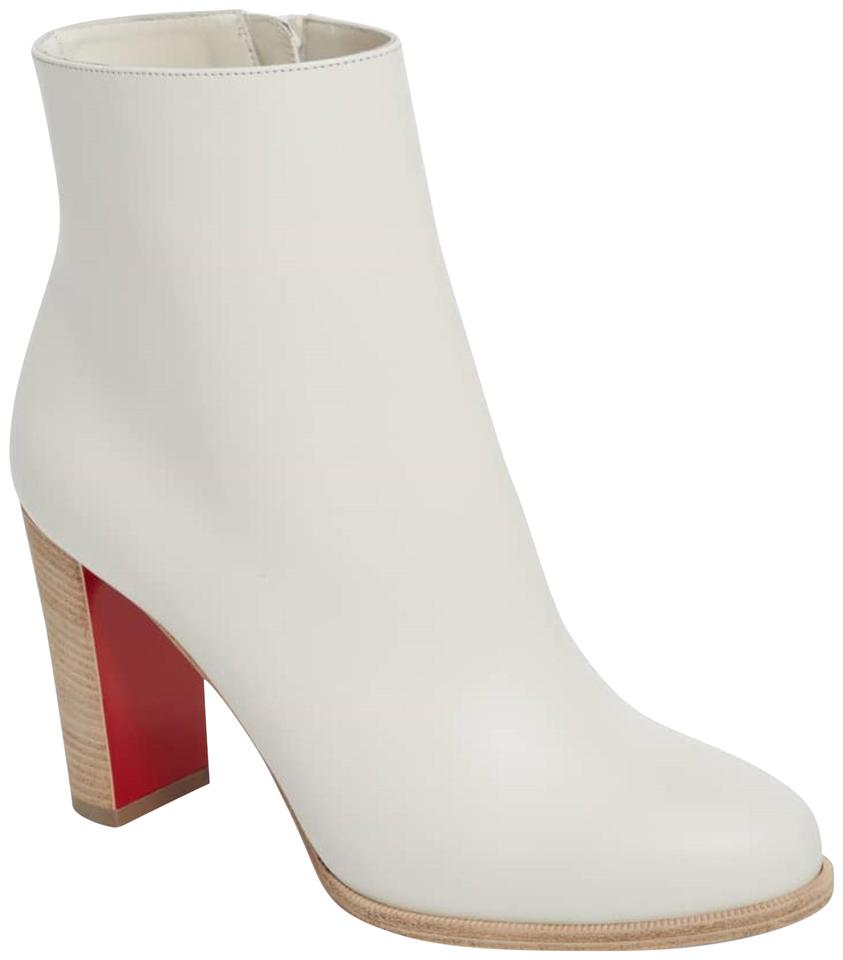 0bf10455a39f Christian Louboutin Latte White Leather Block-heel Ankle Boots Booties