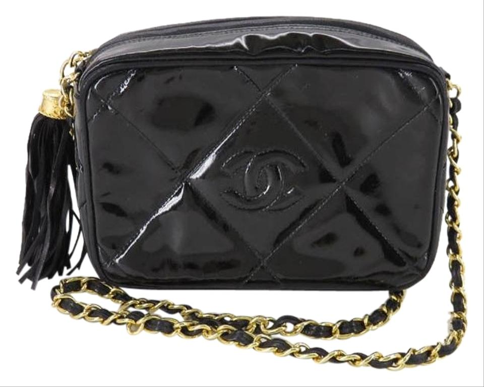 3e4825a17e27 Chanel Camera Case Vintage Quilted Cc Tassel Black Patent Leather Shoulder  Bag