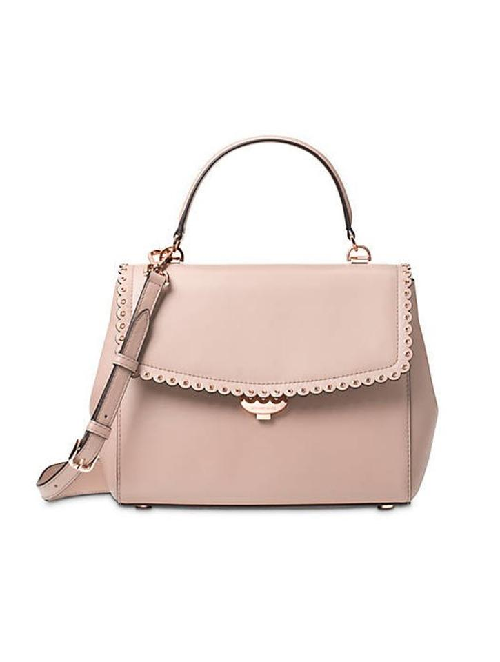 08297e2bf5fe Michael Kors Ava Messenger Leather Crossbody Ballet Satchel in pink Image 0  ...