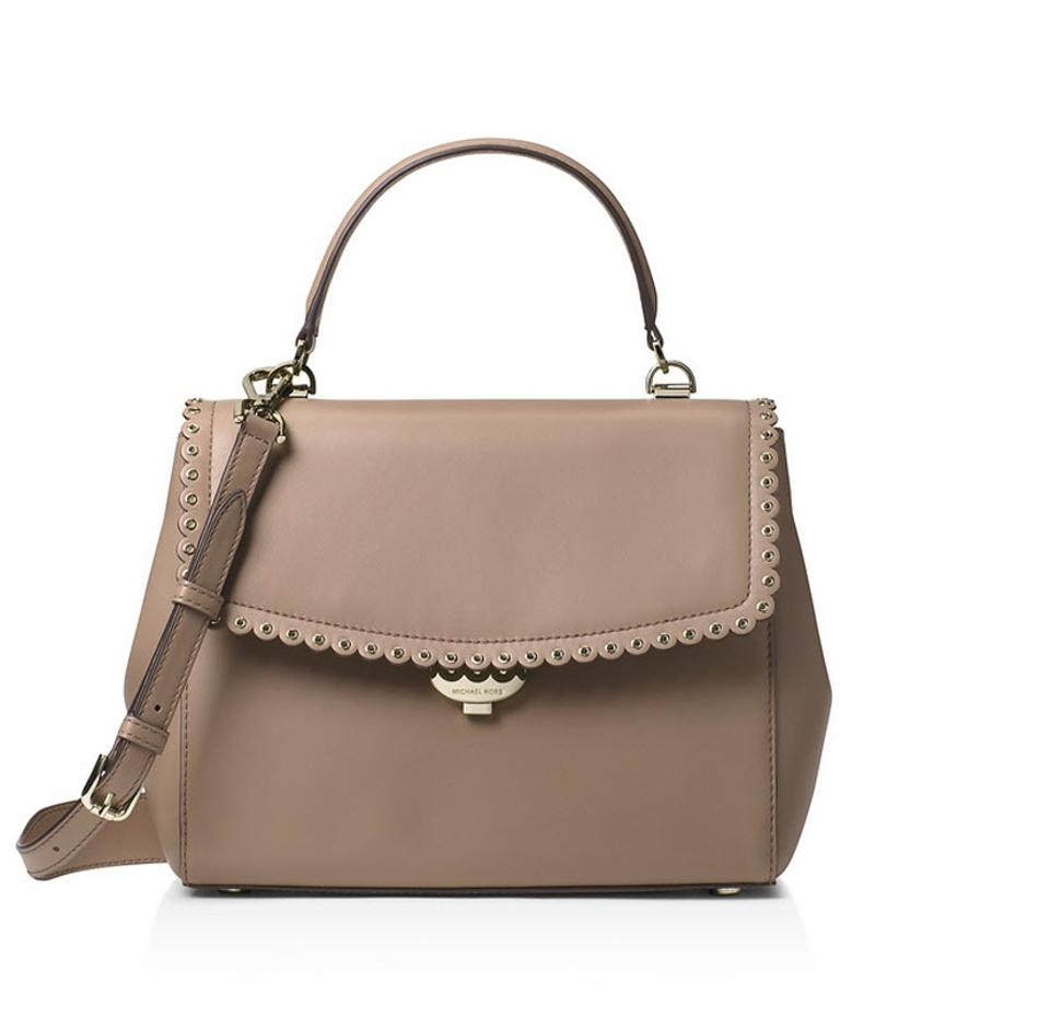 ebb0b6b5bbb9 Michael Kors Ava Extra Small Mini Messenger Beige Leather Cross Body ...
