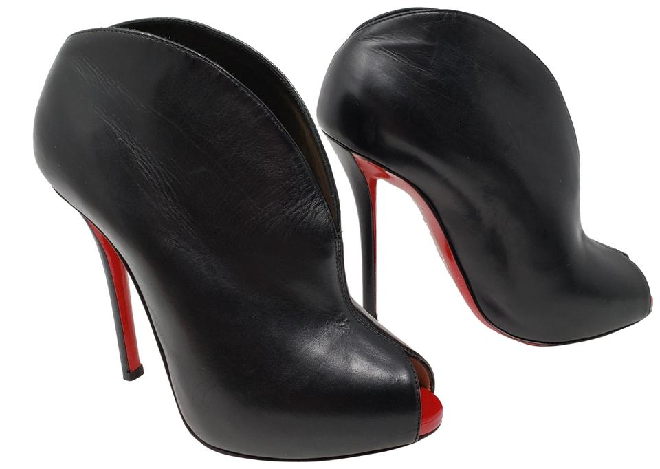 Christian Louboutin Black Leather Leather Black Peep-toe Boots/Booties a537c9