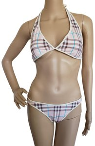Burberry Pale pink multicolor Burberry Nova Check two-piece bikini swimsuit
