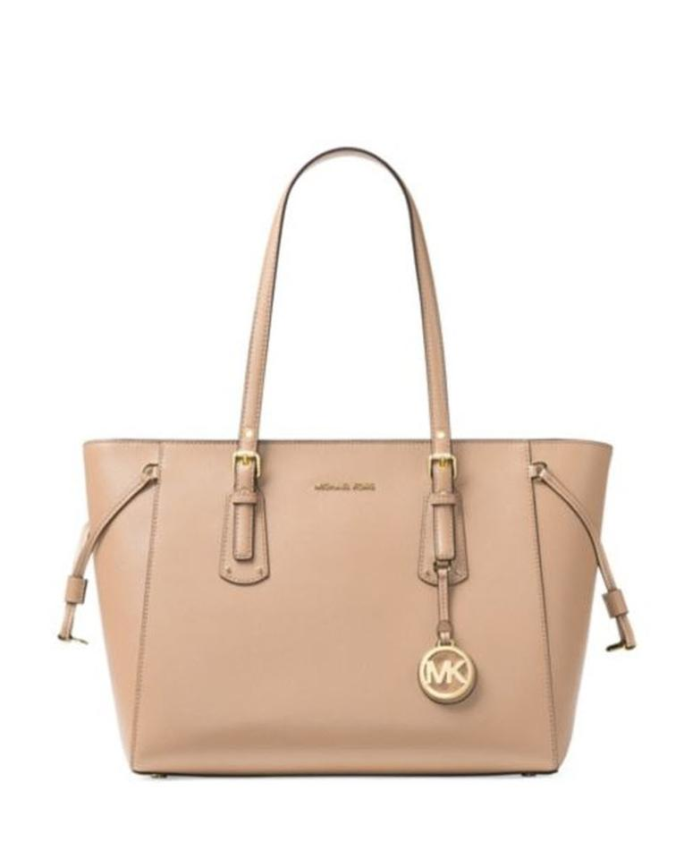 6d80ffbd2504 Michael Kors Voyager Medium Multifunction Top-zip Beige Leather Tote ...
