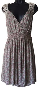 Line & Dot short dress Green and pink Boho Bohemian Flower Floral Lace on Tradesy