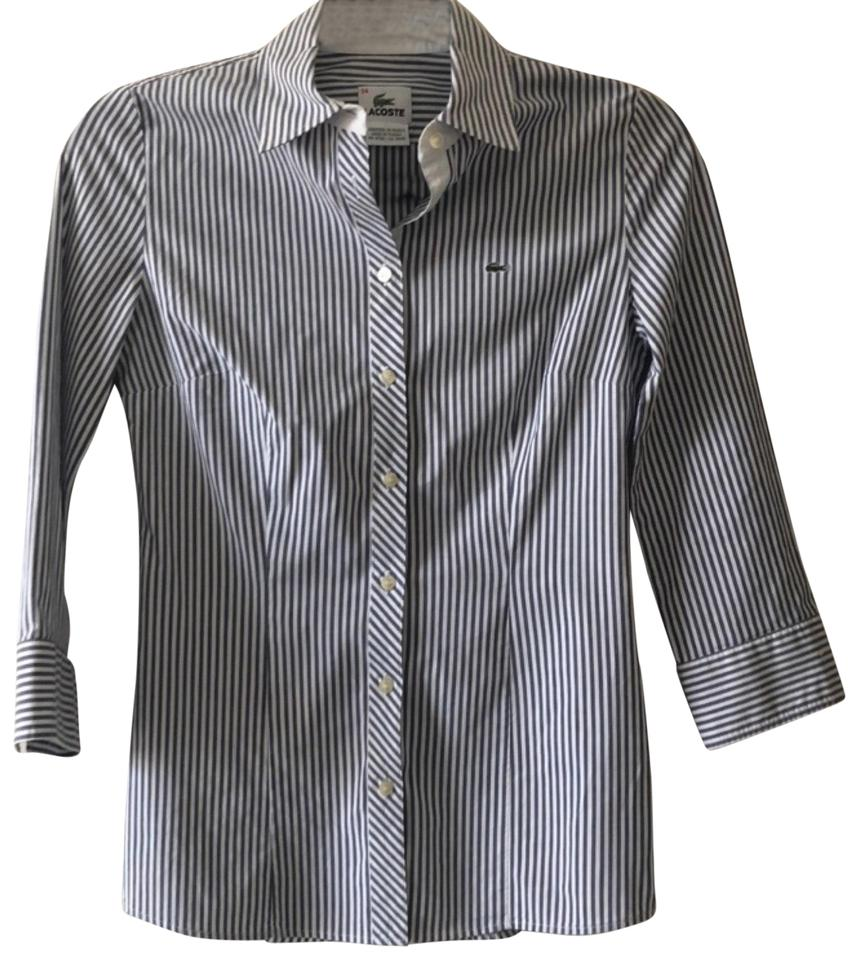 b5c5d3173 Lacoste Gray White Signature Dress 3 4 Shirt Button-down Top Size 4 ...