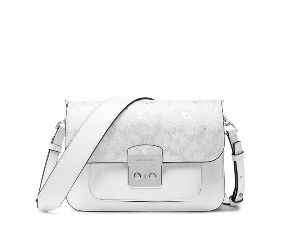 8ea6613c196b Michael Kors Sloan Editor Floral Optic White Leather Shoulder Bag ...