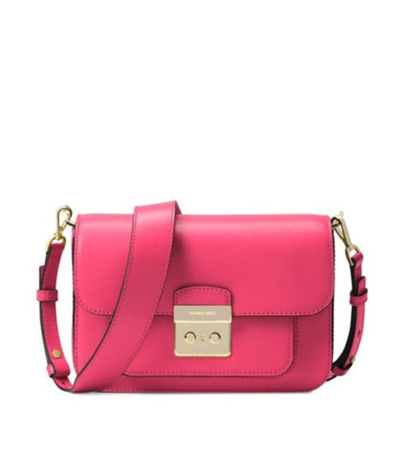 629390c5e610 Michael Kors Sloan Editor Floral Rose Pink Leather Shoulder Bag ...
