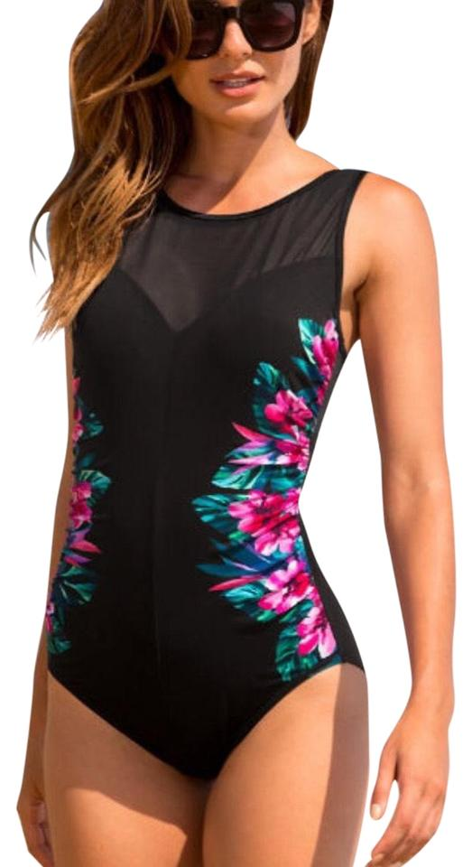 Black Shirred Printed Swimsuit One-piece Bathing Suit Size ...