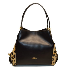 Coach Leather Edie Leopard Shoulder Bag