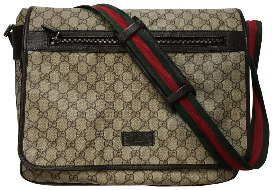 1f08d6692 Gucci Red Green Monogram Gg Unisex Brown Coated Canvas Messenger Bag ...