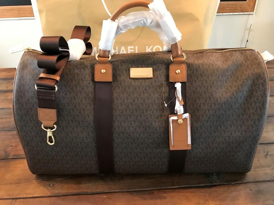 117bfb4adb08 Michael Kors Jet Set Carryall Duffle Duffel Brown Pvc   Leather  Weekend Travel Bag