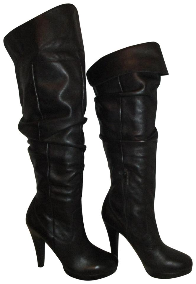 53d60031cdb3d Jessica Simpson Leather Tall Over The Knee 001 Scrunch black Boots Image 0  ...