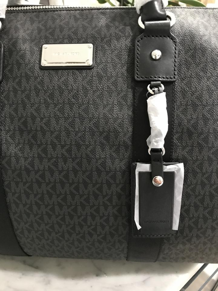 8ff734d94bec Michael Kors Jet Set Carryall Duffle Duffel Black Pvc   Leather ...