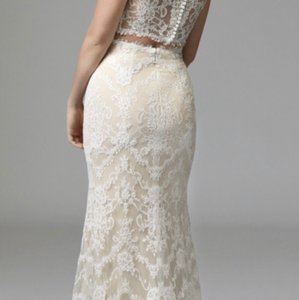 Watters Ivory and Almond Lace Roswell Skirt Modern Wedding Dress Size 10 (M)