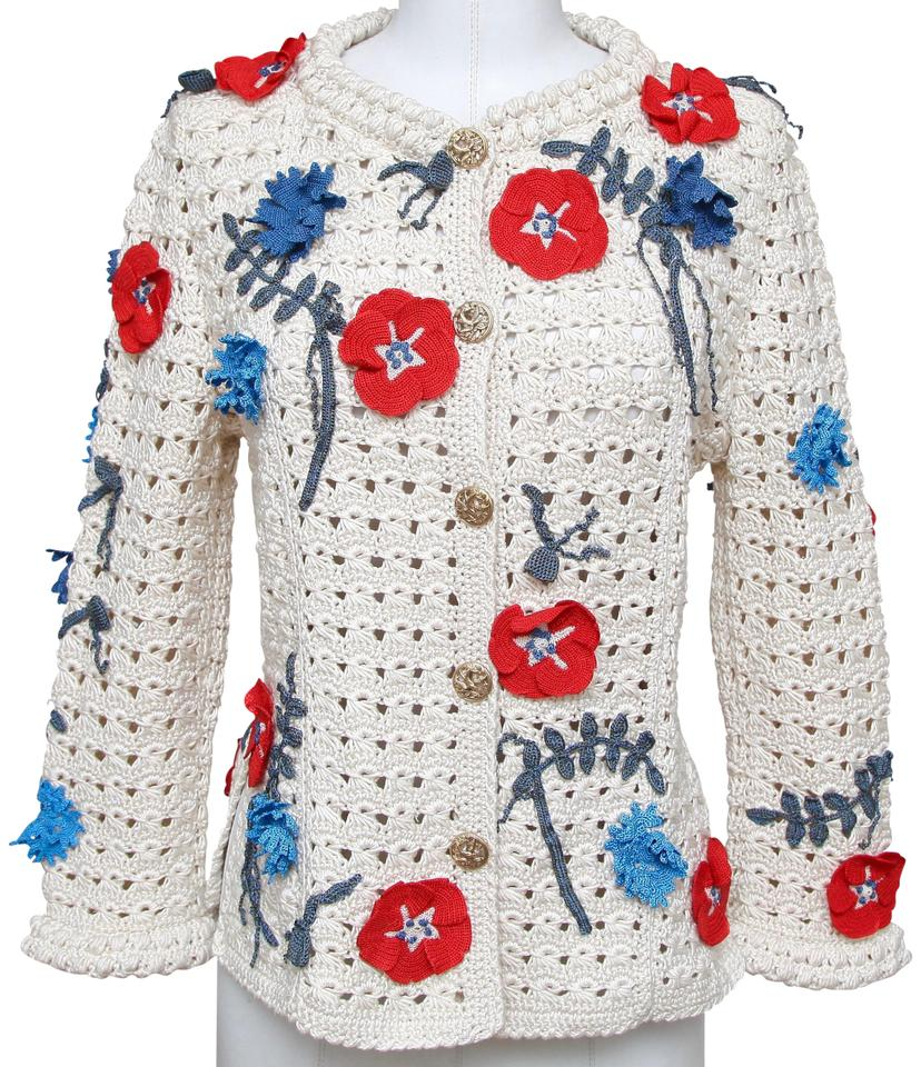 091336f2dc8e Chanel Multicolor Knit Sweater Floral Camellia Embroidery Gold 38 ...