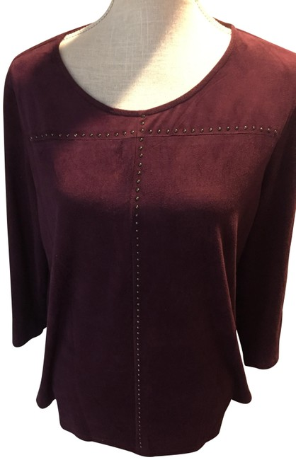 Item - Faux Suede Studded Plum Sweater