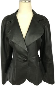 Armani Collezioni Leather Jacket Black Blazer