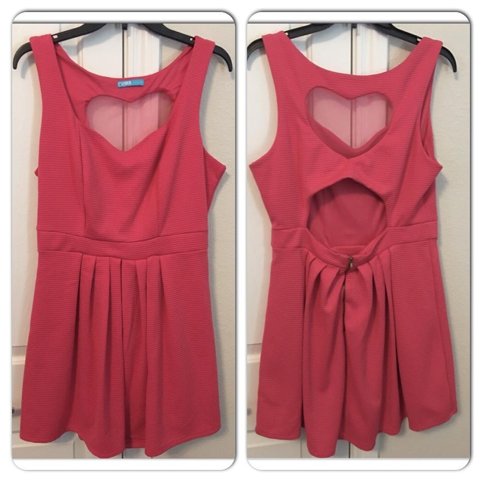 a69c564318 Nanette Lepore Pink Heart Cutout Ribbed Skater Short Casual Dress Size 12  (L) - Tradesy