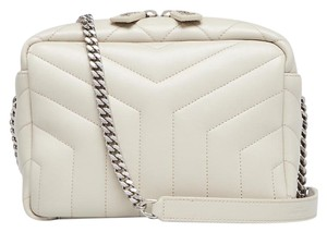 Saint Laurent Leather Logo Italian Quilted Shoulder Bag