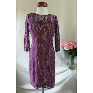 Adrianna Papell Mulberry Purple Formal Lace Sheath Fall Modest Bridesmaid/Mob Dress Size Petite 10 (M)