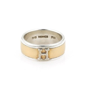 """Hermès """"H"""" Logo Sterling Silver 18k Yellow Gold 8mm Wide Band Ring"""