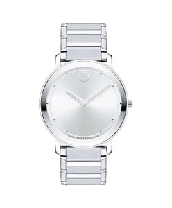 Movado Sapphire 40mm Silver Dial Steel Men's Swiss Quartz Watch 0606881