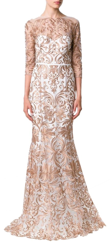 3b9f022e930e Marchesa Notte Ivory Gold Metallic Embroidery Mermaid Tulle Formal Dress