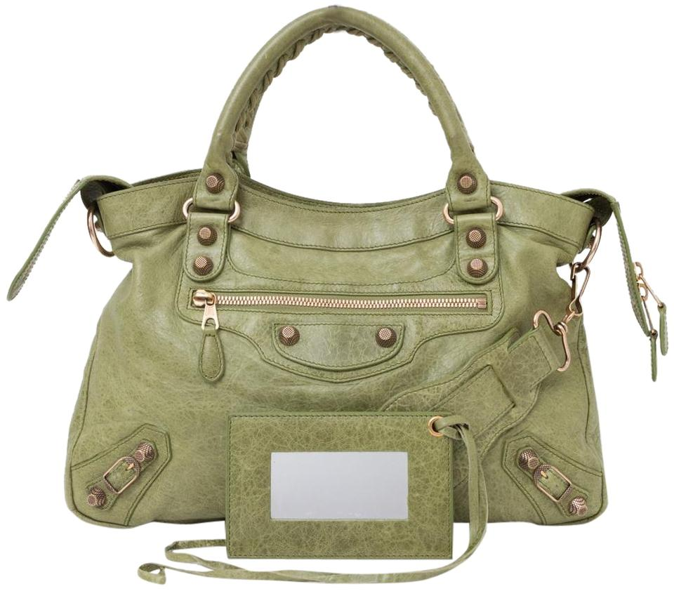 23741cd5e34 Balenciaga Town Rose Gold Giant 12 Studs Light Olive Handbag Green ...