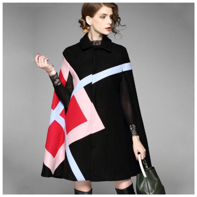 Item - Black Pink Red Stunning Multi Color Cashmere Blend Jacket C88 Poncho/Cape Size OS (one size)