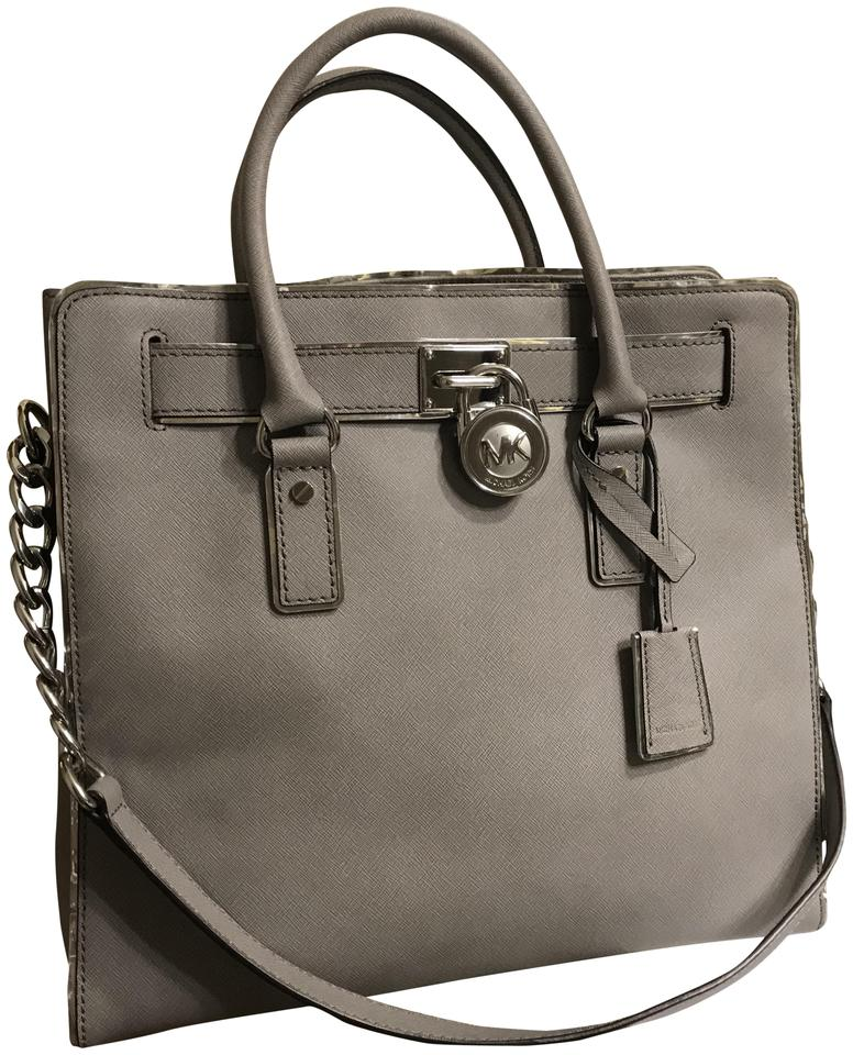 d921f5188607 Michael Kors Hamilton Specchio North South Large Convertible Satchel Pearl  Grey Saffiano Leather Tote