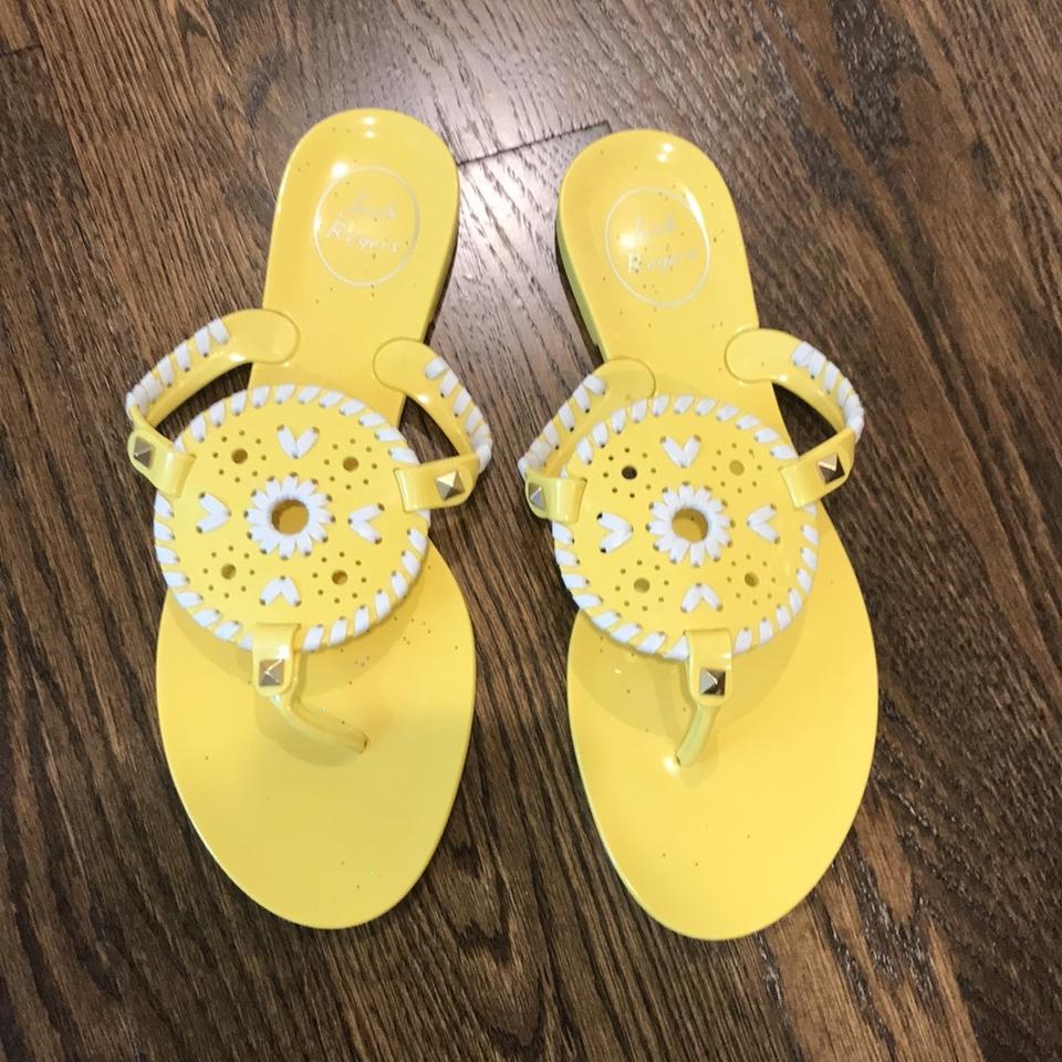 77f338cd2b65c4 Jack Rogers Yellow with White Details Georgica Jelly Sandals Size US ...