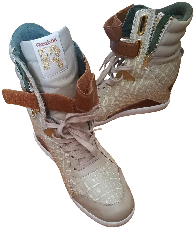 a04c8e42cb615 Reebok Awesome Colors  Multi Beige Tan Off-white with Olive Green and Rust  Brown A Keys Wedges